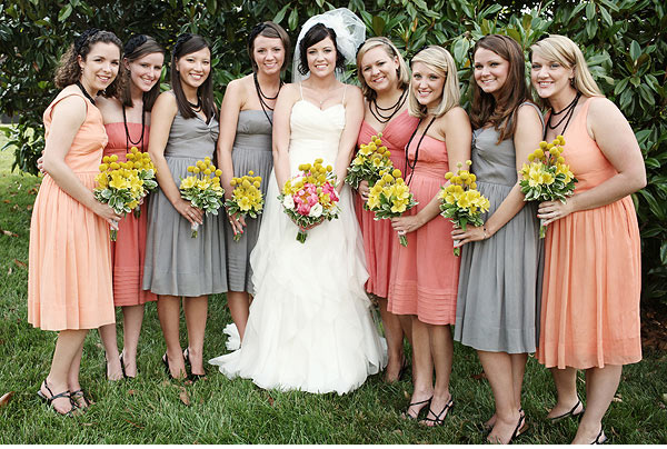 My wedding dress each bridesmaid wear a different color for Different colored wedding dresses