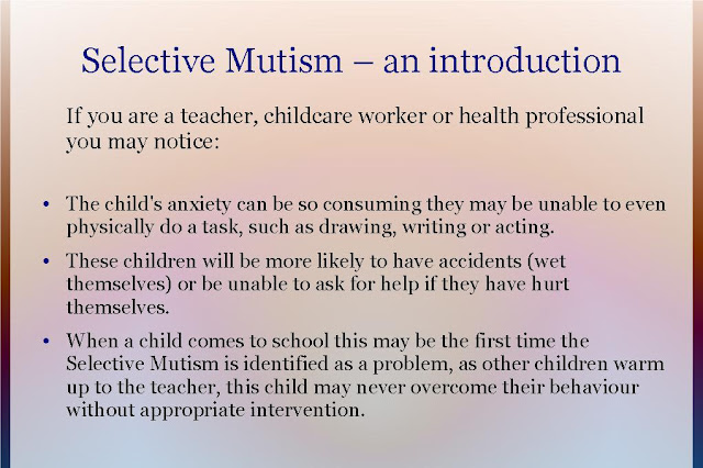 an overview of selective mutism essay Overview background anxiety these disorders include separation anxiety disorder, selective mutism, specific phobia, social anxiety disorder (social.