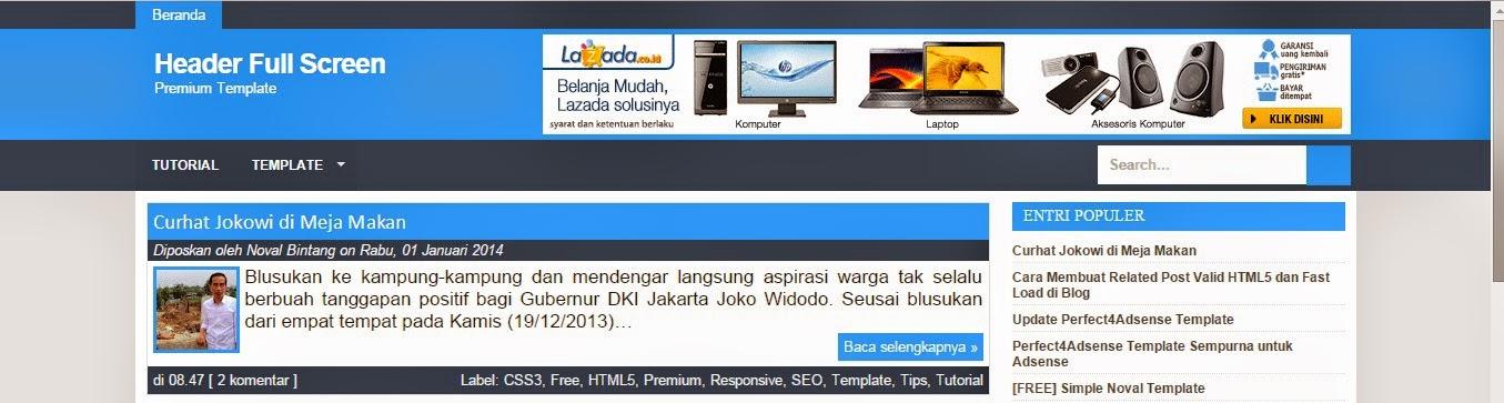 Cara Mudah Membuat Header Blog Jadi FullScreen & Responsive