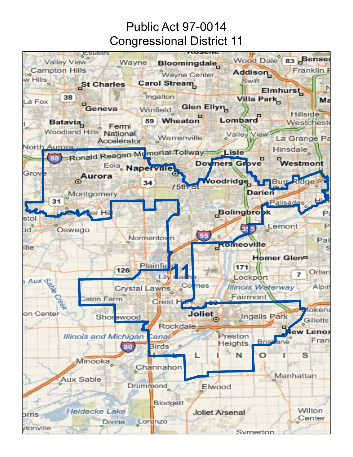 map of realigned illinois 11th congressional district including the towns of joliet parts of new lenox bolingbrook naperville woodridge and aurora
