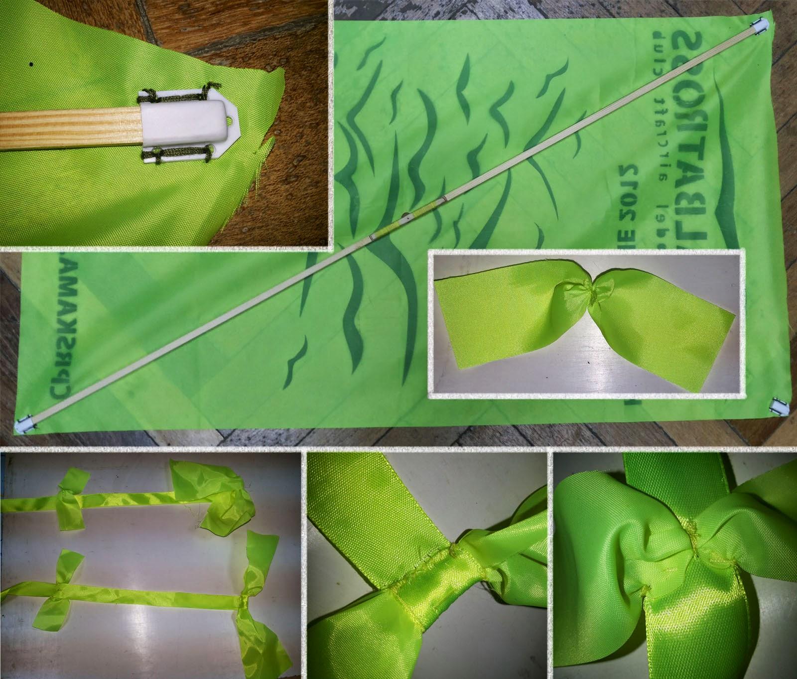 Как пришивать кармашки и банты хвоста воздушного змея