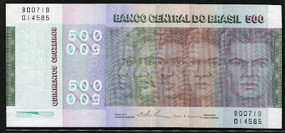 money currency 500 Cruzeiros Brazilian Commemorative banknote bill