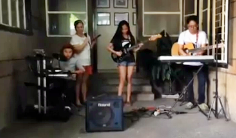 Parokya ni AJ (on drums: Basti, on keyboard: AJ,  on guitar: CJ and on vocals: Aimee)