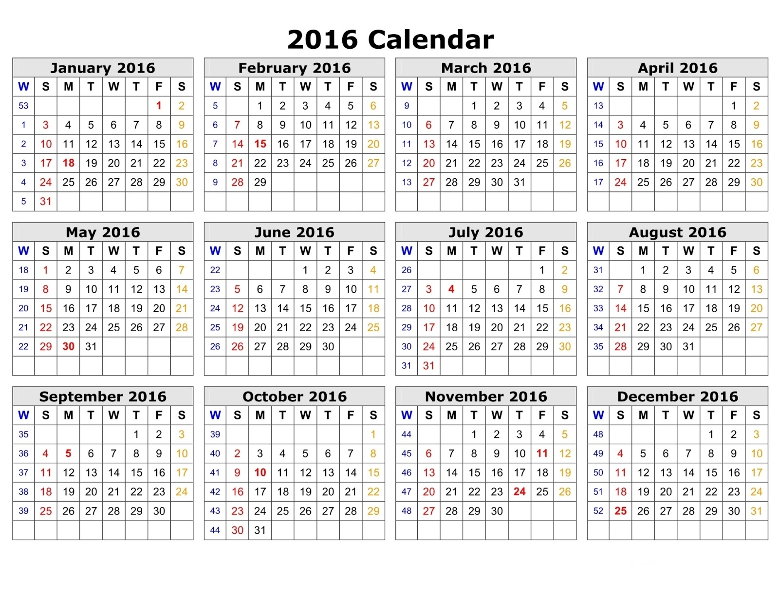 Jewish Calendar 2016 Template word Excel PDF free, 2016 jewish holiday ...