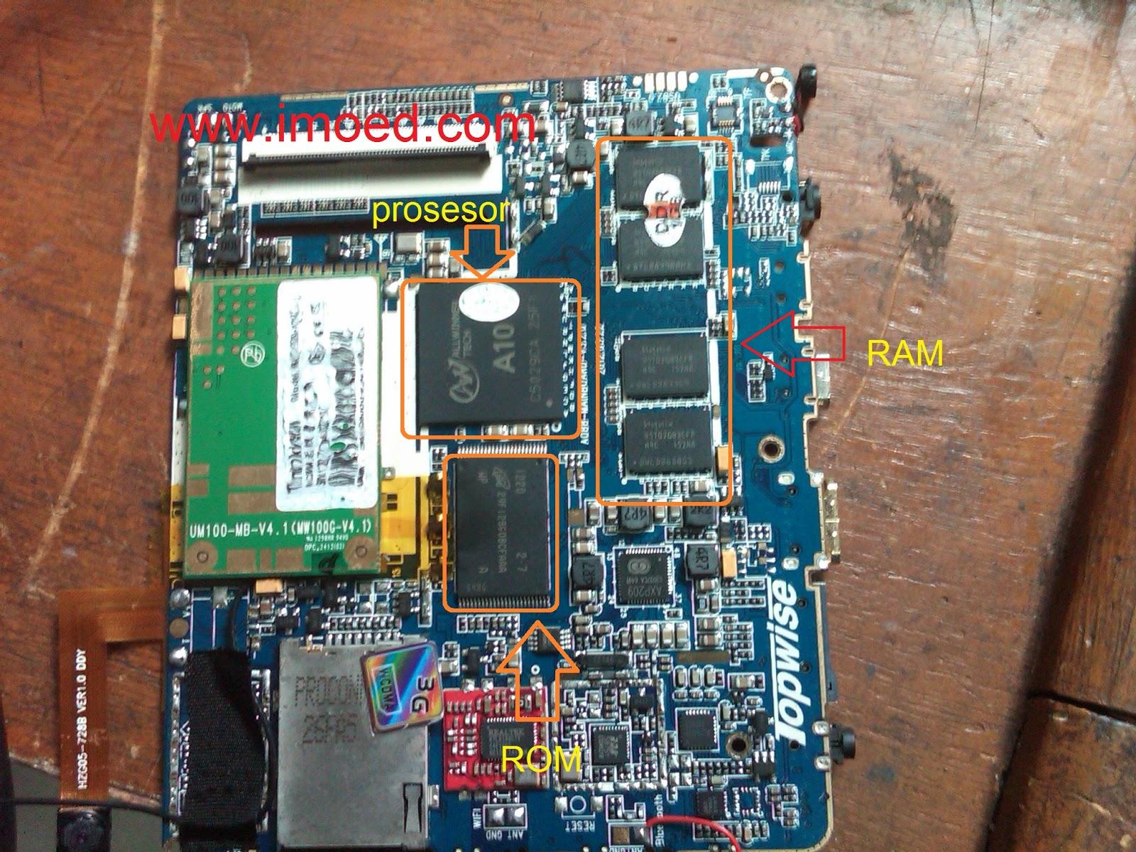 PCB mesin tablet treq A10G duo, terdiri dari satu buah ic prosesor A10