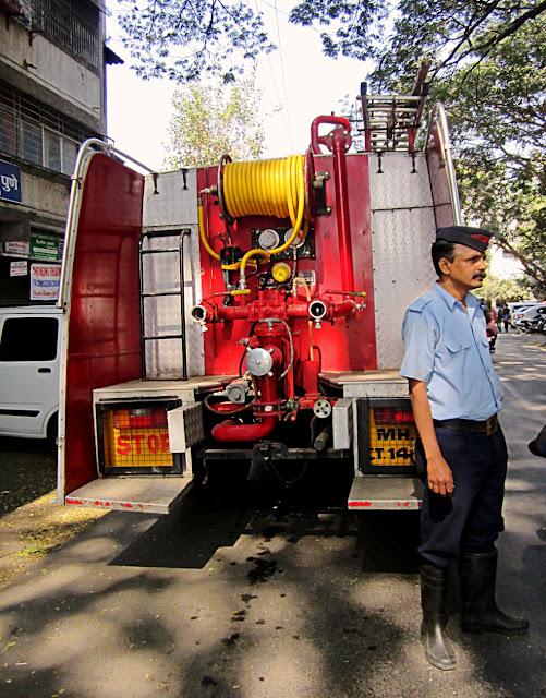 fire truck and fireman