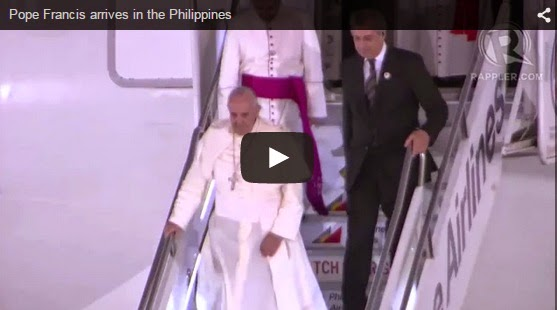 Pope Francis arrives in the Philippines