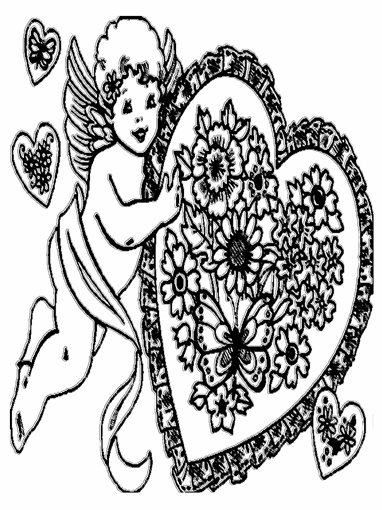 Valentine Flowers Coloring Pages For Kids