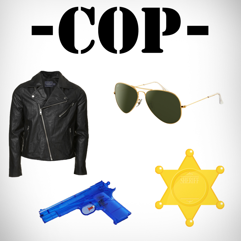 Diy last minutecheap halloween costumes for men galla if one has a leatherpleather jacket black slacks and cheap aviators then one might consider being a cop this halloween slick your hair back dude solutioingenieria Gallery