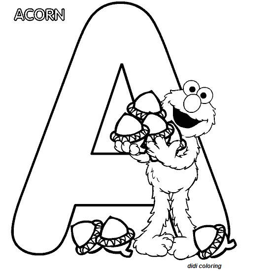 printable preschool alphabets uppercase letter a acorn coloring