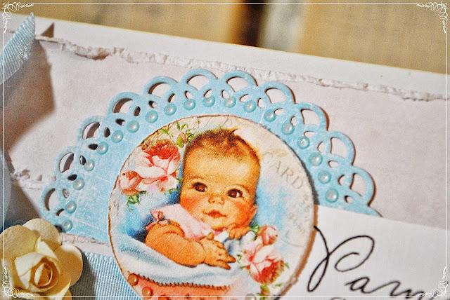 kartka na chrzest święty scrapbooking