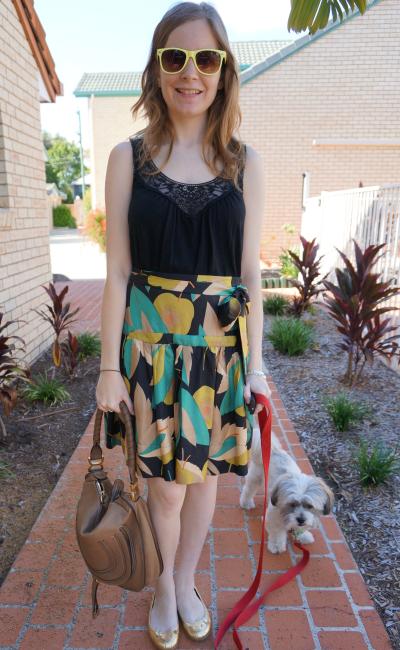 away from blue australian blog summer lace detail tank printed silk skirt