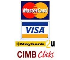 Boleh buat bayaran melalui VIsa/MasterCard/Debit Card / Online Banking / Tunai di Kedai kami.