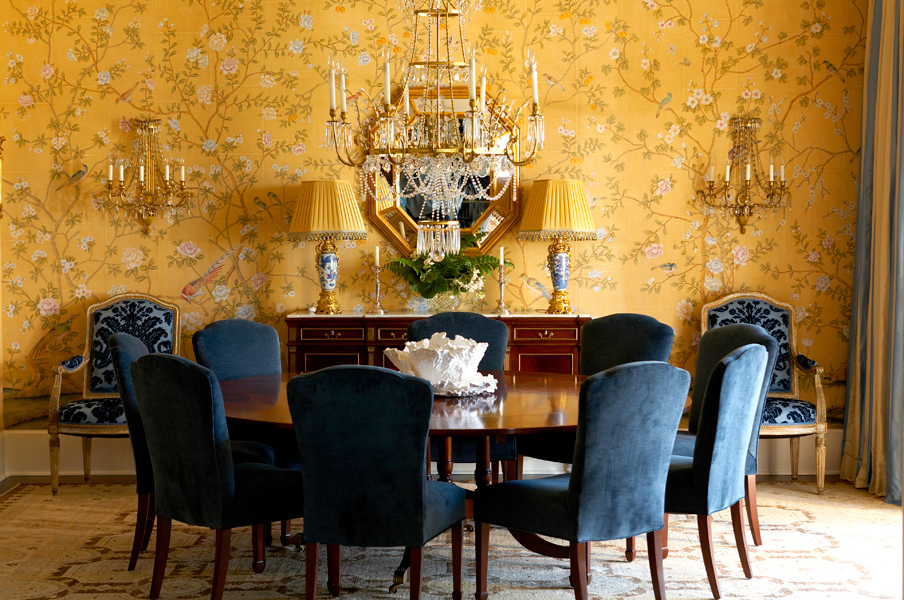 John Bossard, A Palm Beach Dining Room. Canu0027t Go Wrong With Hand Painted  Wallpaper In The Dining Room. Love Yellow And Navy Together.
