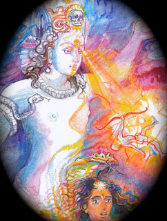 Shiva's fiery third eye which contains the energy of the sun; Tantrik painting.