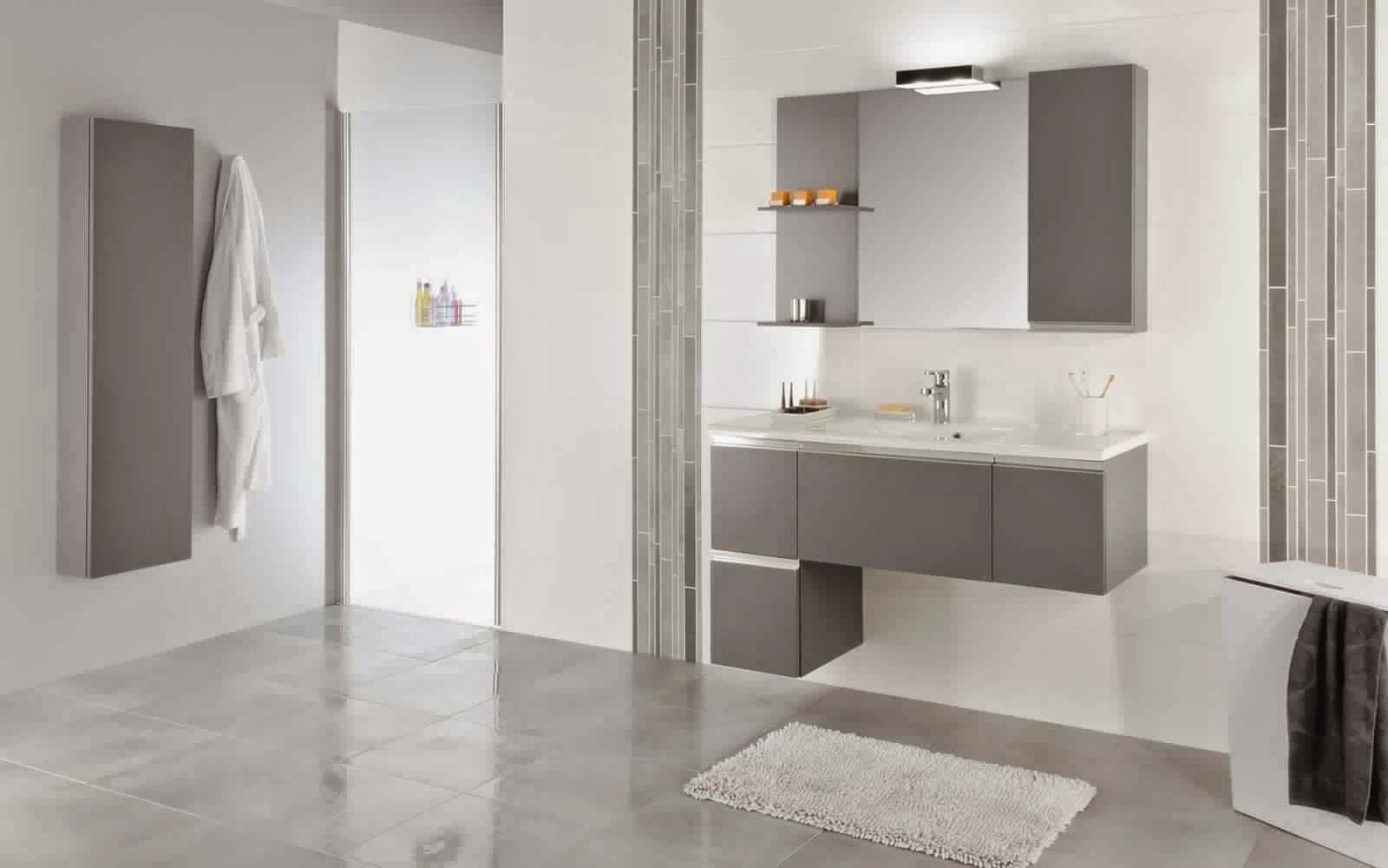 Meuble salle de bain gris meuble d coration maison for Meuble salle de bain gris clair