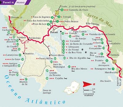Mapa das praias de Paraty