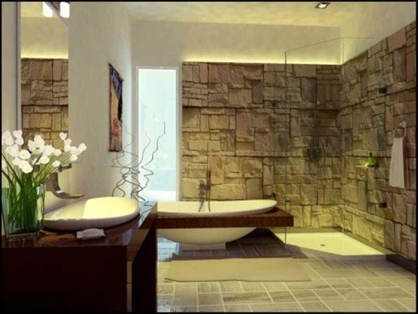 Baños Modernos Decorados:Baño moderno decorado con piedras naturales que conjuntan a la