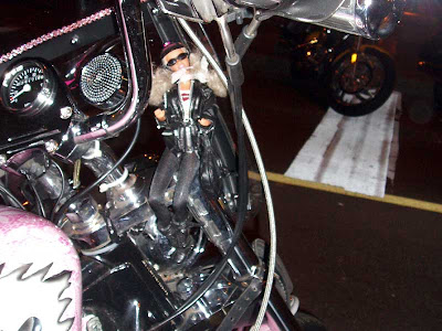 The Girlie Bike even had its own mascot. She was dressed appropriately with boots, leathers and shades.
