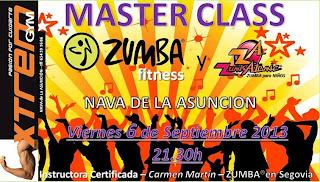 ZUMBA en Segovia. Master class en Nava de la Asunción