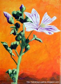 Cuadro de flores en acrílico sobre lienzo