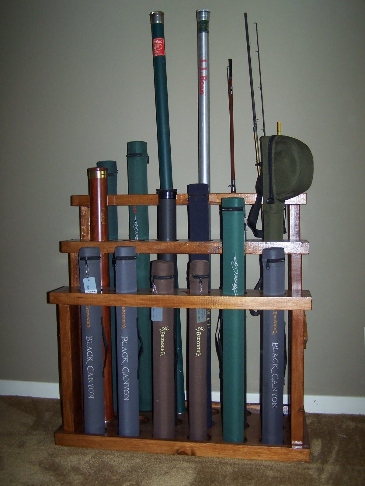The naturalist 39 s angle d i y fly rod rack for Fly fishing rod holder