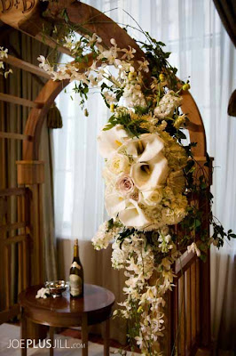 Fairmont wedding, Seattle's best wedding flowers, wedding arch with white flowers