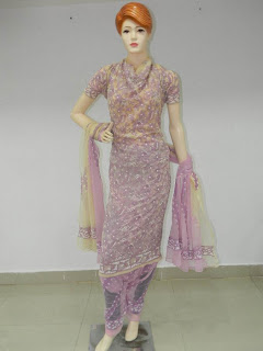 Lucknowi Chikan Purple Cotton Dress Material