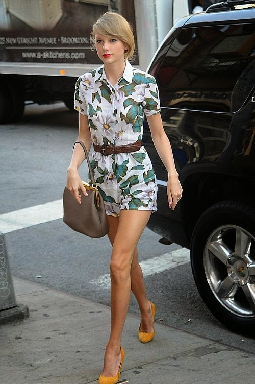 A peach playsuit is the softest seasonal hue and will have you oozing with sultry sophistication like Taylor Swift here in New York City on Wednesday, July 2, 2014. The 24-year-old who looks demure in ingenue fashion design with added a brown bag, two little cute of yellow heels and dark waistband detailing.