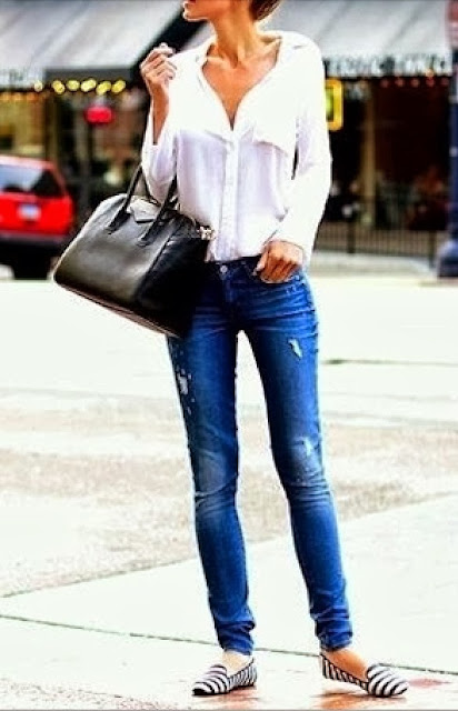 Street fashion white blouse, Jeans and stripe flats