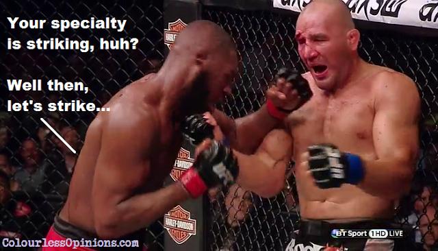 Jon Jones punching Glover Teixeira in UFC 172