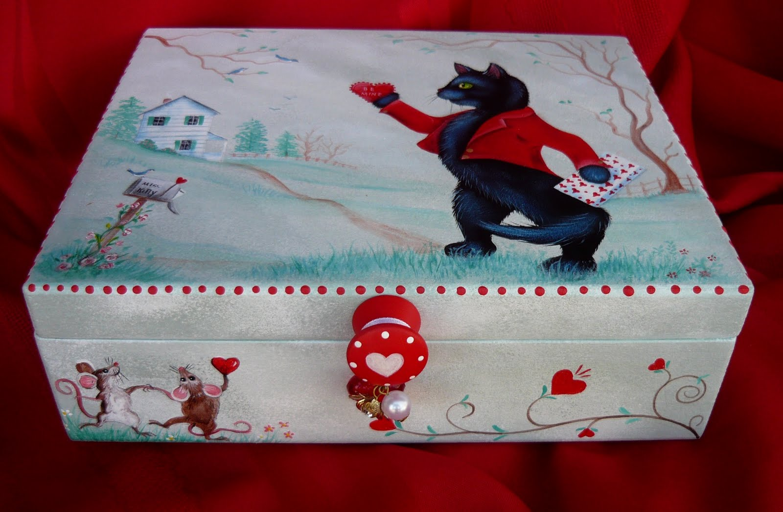 happy new year everyone its been a busy season im happy to say i am back to painting and am offering an original black cat valentine box