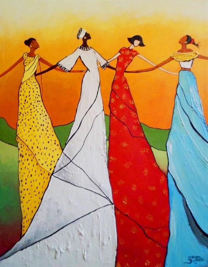 Cuadros modernos pinturas y dibujos negras africanas al leo - Dibujos naif para pintar ...