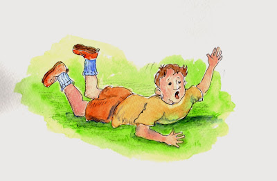 children's book illustration, boy getting hurt