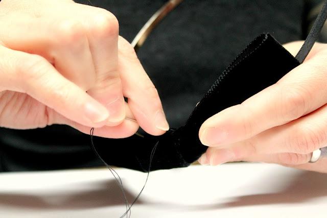 sewing black velvet bow headband - catherine masi