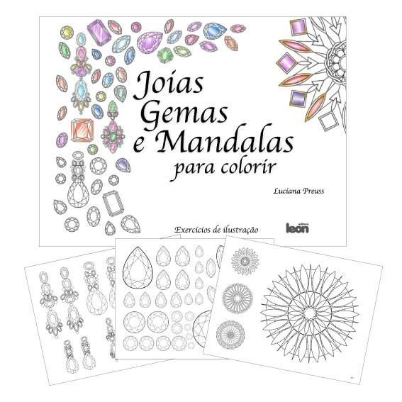 Super Joias, gemas e mandalas para colorir de Luciana Preuss - Joialerismo IL32