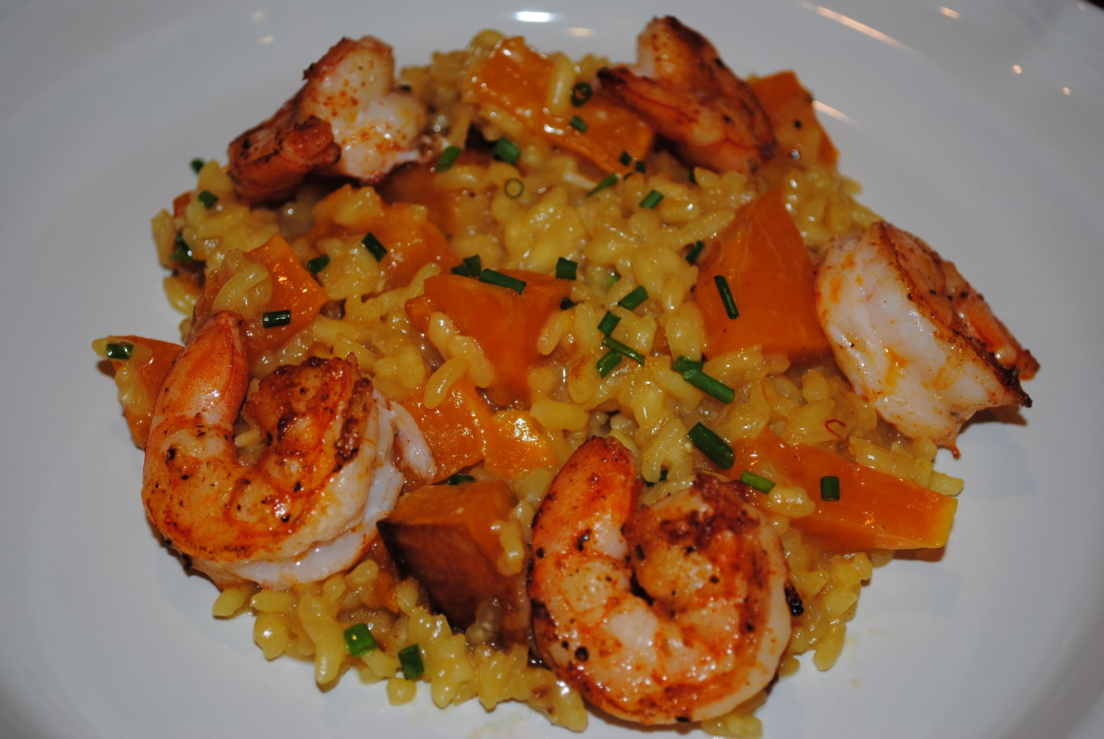 Date night butternut squash risotto with spicy shrimp for Spicy prawn risotto