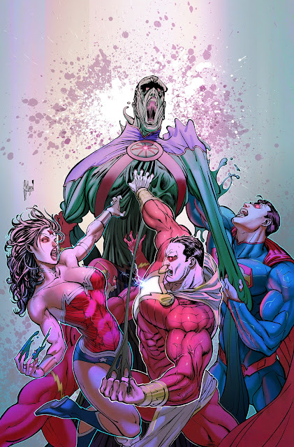 Making of a cover: JUSTICE LEAGUE OF AMERICA 8 variant by Guillem March