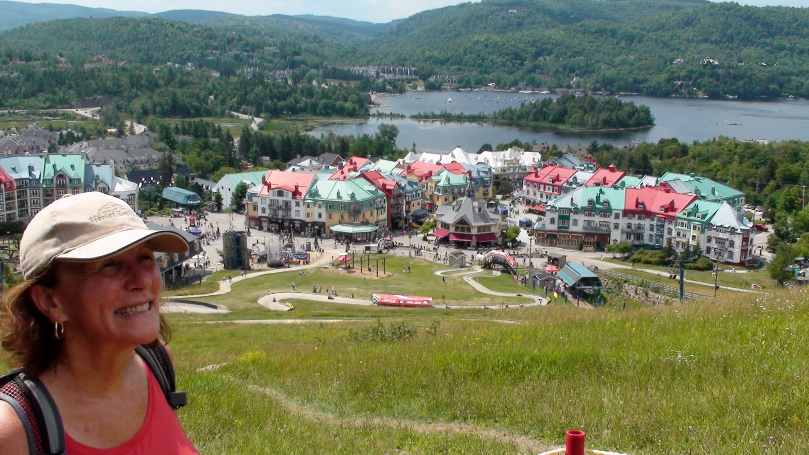 Liz looking down at Mon Tremblant Village
