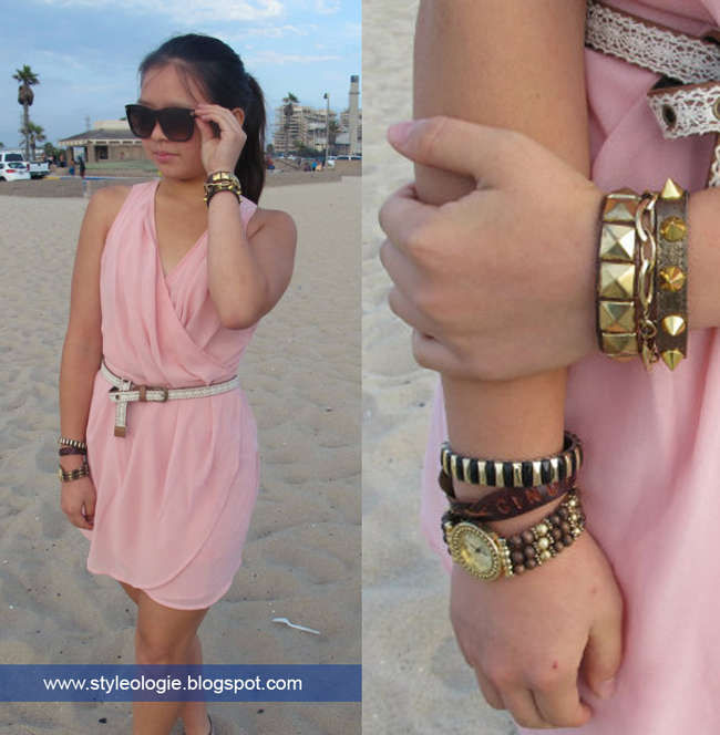 golden studded leather bracelet
