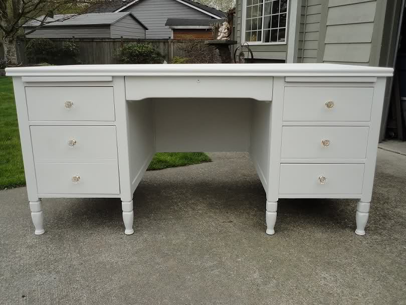 Large White Desk With Tons Of Work Space And Storage Inside Of Drawers Are Lined With Zebra Fabric And Have Crystal Knobs Sold