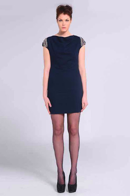 Naomi Tsukishima Navy Beaded Cocktail Dress