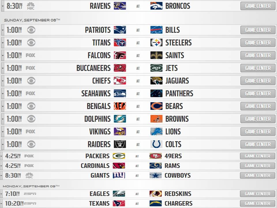 2013 2014 NFL Schedule