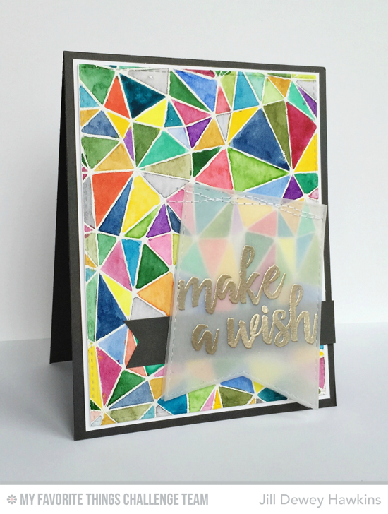 Artsy Abstract Wish Card by Jill Dewey Hawkins featuring the Brushstroke Birthday stamp set and Abstract Background stamp #mftstamps