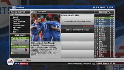 fifa 12 modalità carriera schermata iniziale