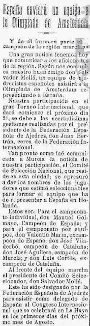 Sobre la Olimpiada de Ajedrez de Amsterdam, El Liberal, 6 de julio de 1928