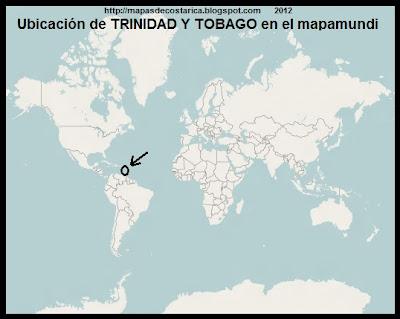 El Mundo. Ubicacion de TRINIDAD Y TOBAGO en el mapamundi, OpenStreetMap