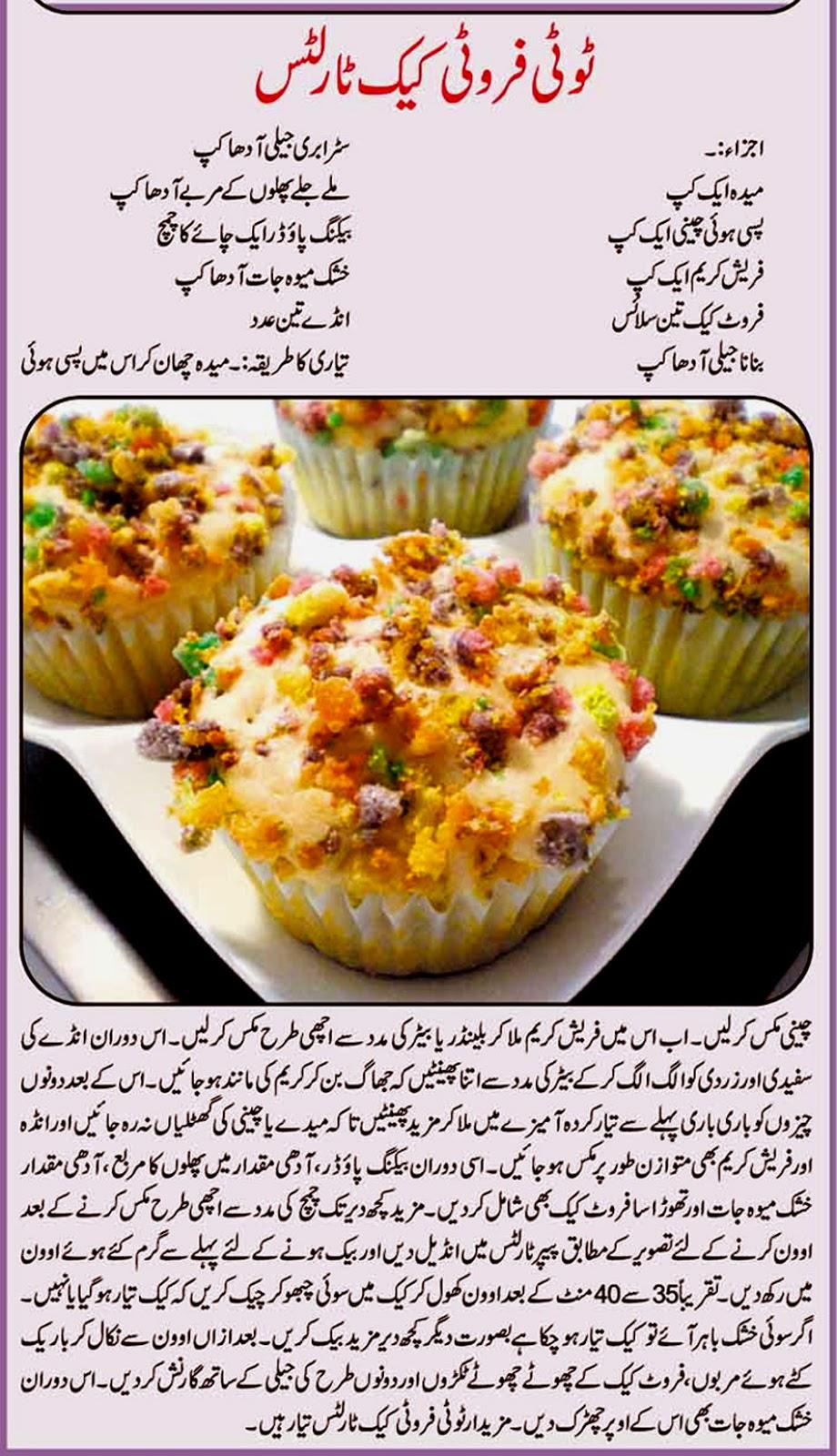 Urdu Recepies 4u Sweet Recipe Of Tooty Fruity Cake Tarletas In Urdu