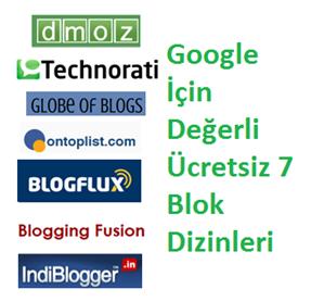 Google İçin Değerli Ücretsiz 7 Blok Dizinleri
