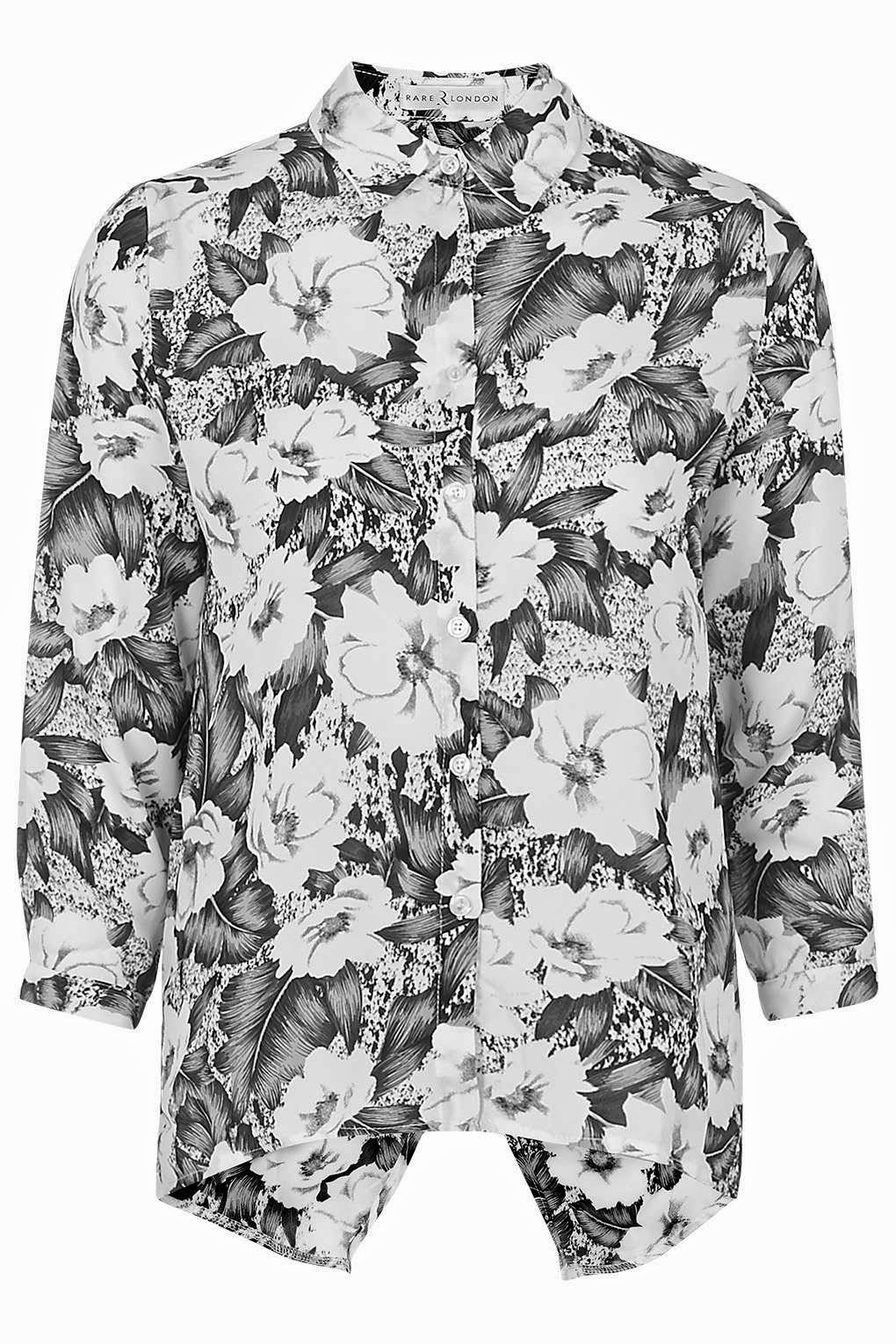 black white flower blouse